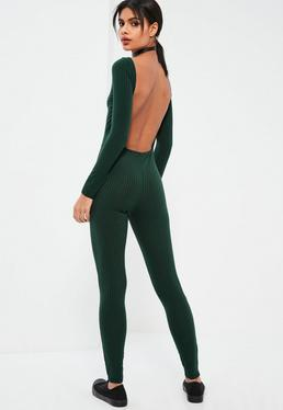 Green Low Back Long Sleeve Ribbed Unitard Jumpsuit
