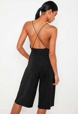 Black Strappy Plunge Slinky Culotte Jumpsuit