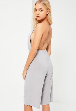 Grey Strappy Plunge Slinky Culotte Jumpsuit
