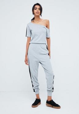 Grey Off Shoulder Short Sleeve Sports Stripe Jumpsuit