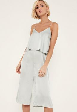 Grey Satin Double Layer Culotte Jumpsuit