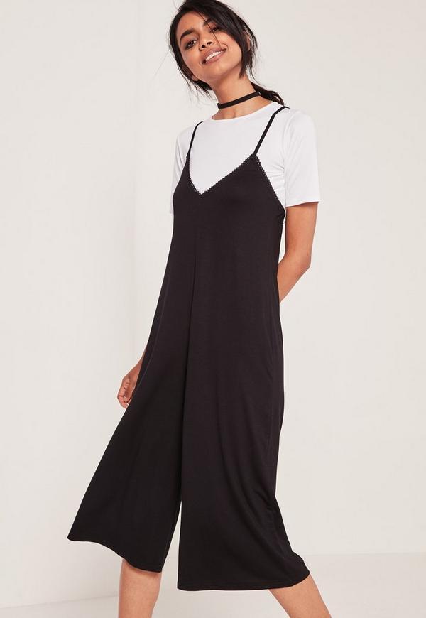 2 in 1 Culotte Jumpsuit Black - Missguided