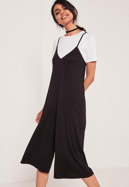 2 in 1 Culotte Jumpsuit Black