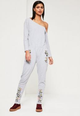 Grey Off the Shoulder Embroidered Jumpsuit