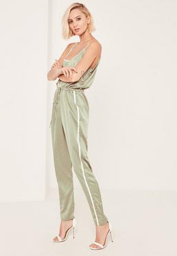 Green Satin Sports Striped Strap Jumpsuit
