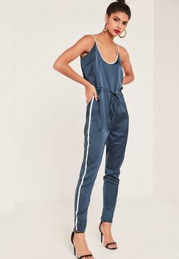 Navy Satin Sports Striped Strap Jumpsuit
