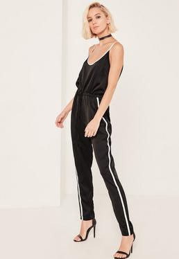 Black Satin Sports Striped Strap Jumpsuit