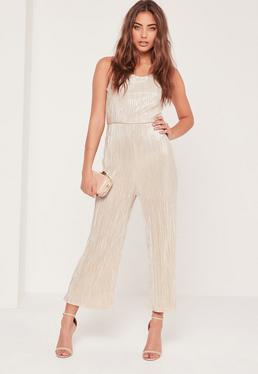 Pleated Strappy Back Culotte Jumpsuit Nude