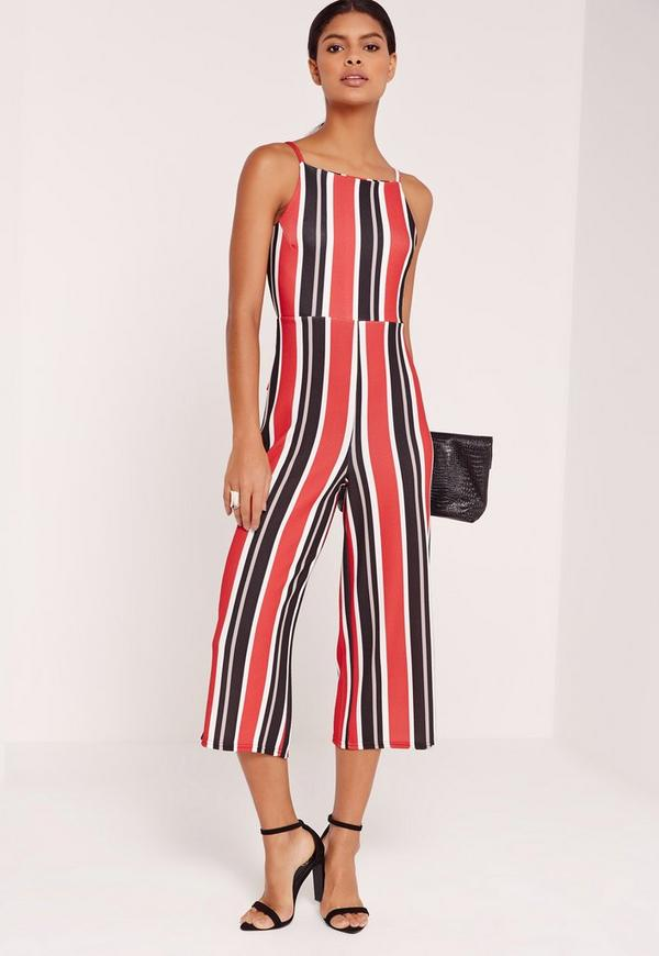 Striped Strappy Back Culotte Jumpsuit Red