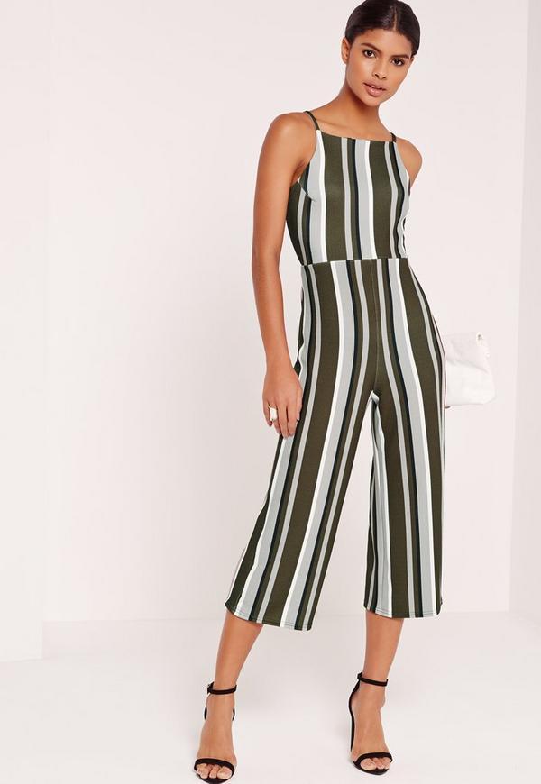 Striped Strappy Back Culotte Jumpsuit Khaki