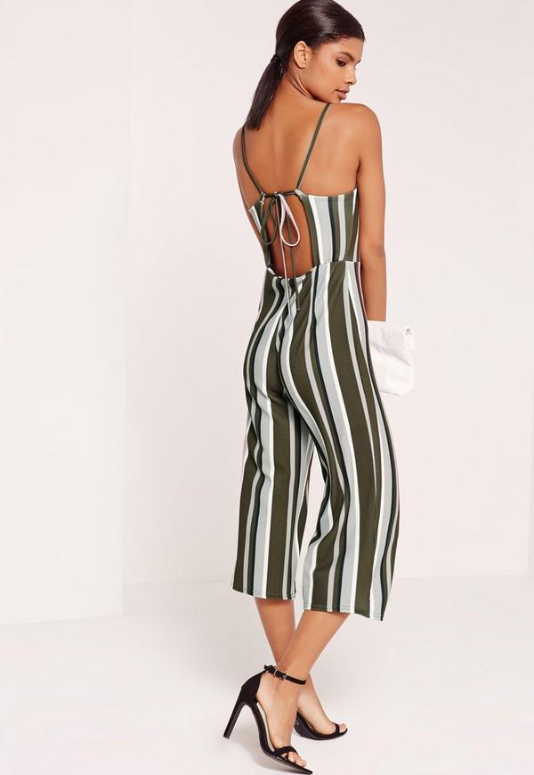 d1743b2edd2 Striped Strappy Back Culotte Jumpsuit Khaki