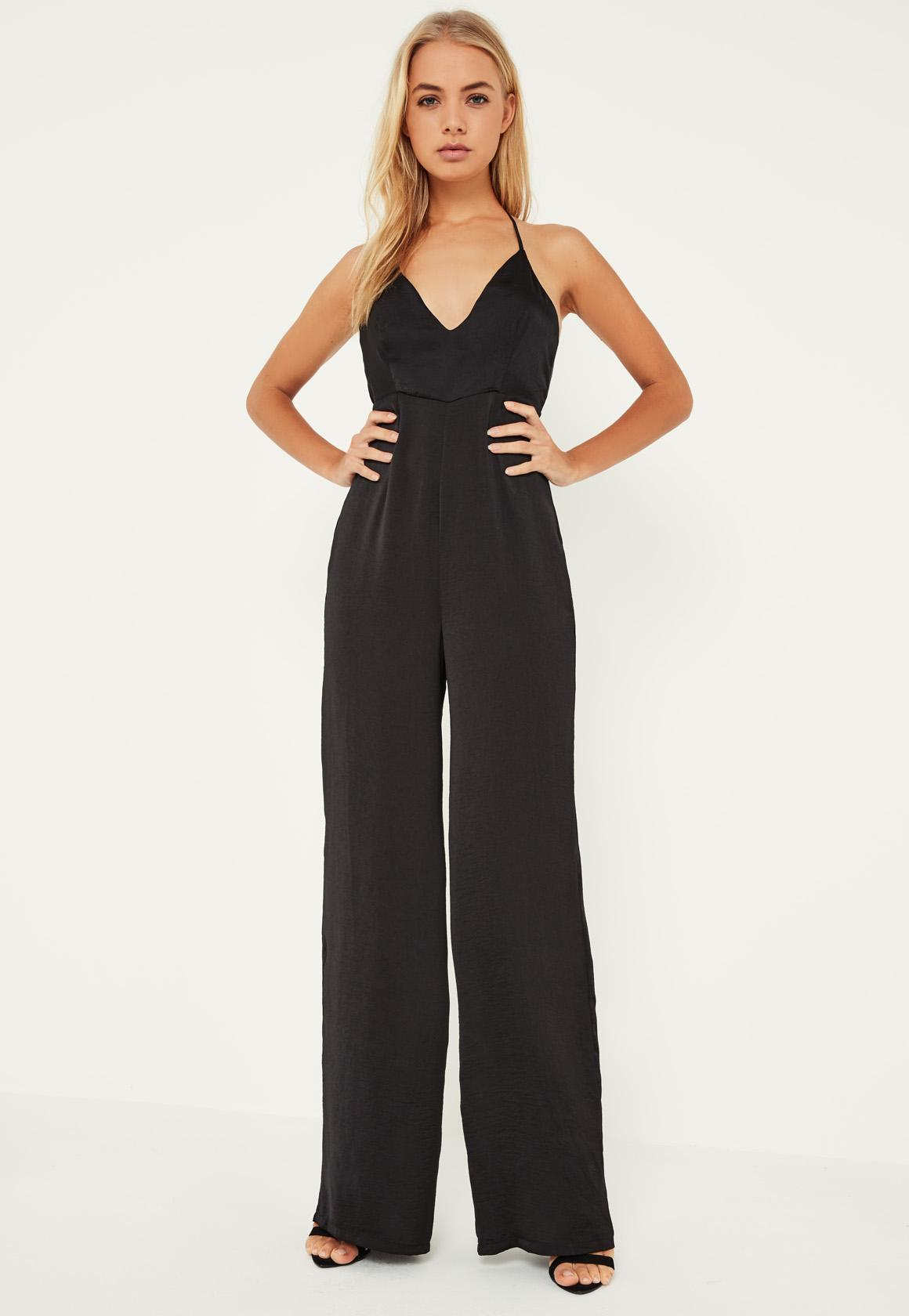 Black Silky Plunge Wide Leg Jumpsuit - Missguided