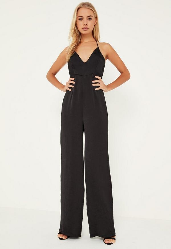 black silky plunge wide leg jumpsuit missguided. Black Bedroom Furniture Sets. Home Design Ideas