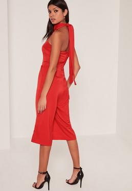 Red Crepe High Neck Tie Culotte Jumpsuit