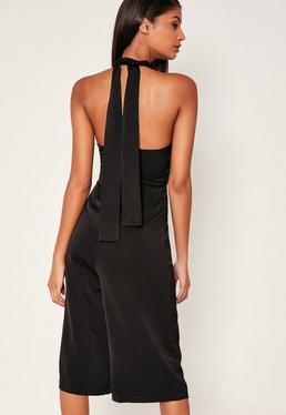 Black Crepe High Neck Tie Culotte Jumpsuit