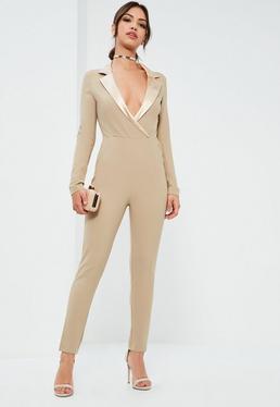 Nude Satin Lapel Long Sleeve Tux Jumpsuit