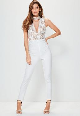 White Lace Top Choker Sleeveless Jumpsuit