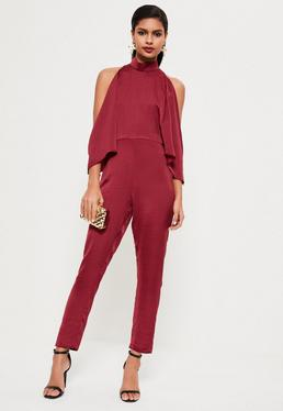 Burgundy Open Shoulder High Neck Satin Jumpsuit