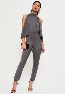 Grey open Shoulder High Neck Satin Jumpsuit