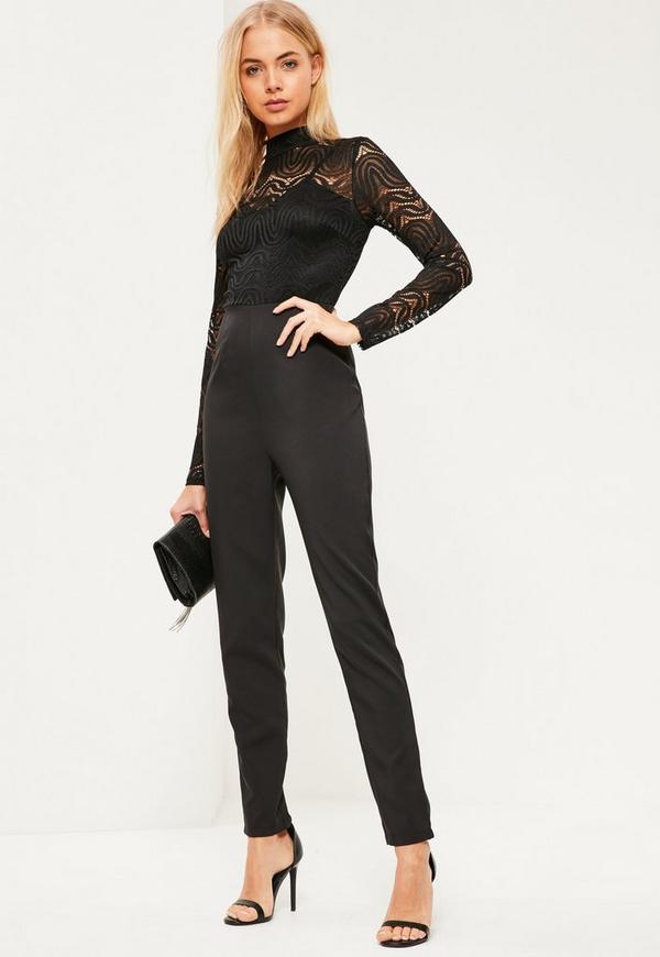 Black Lace Top High Neck Jumpsuit