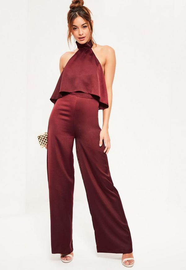 Burgundy Double Layer Satin High Neck Jumpsuit | Missguided