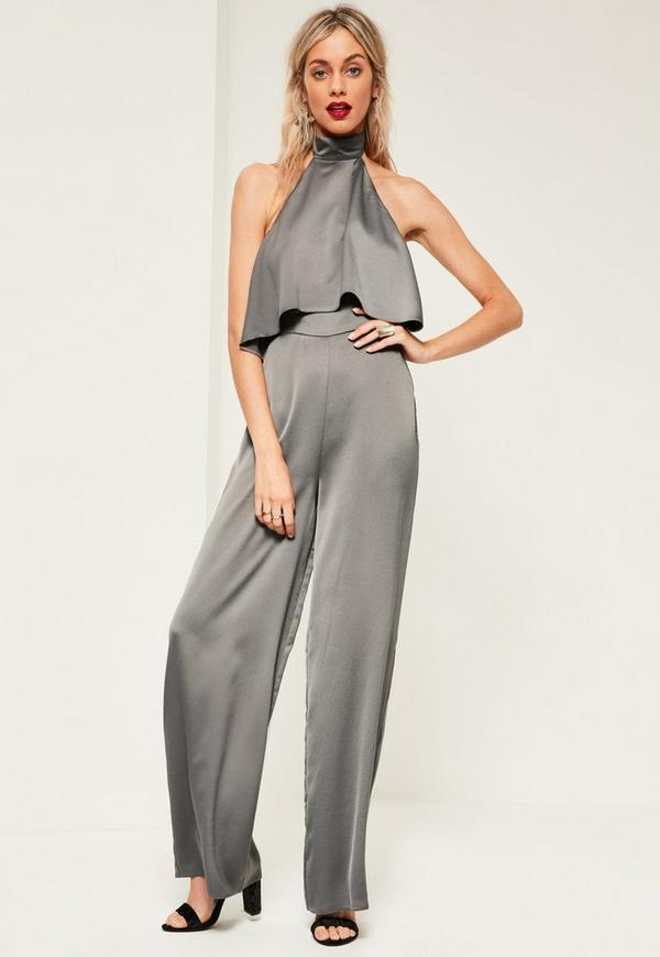 Grey Double Layer Satin High Neck Jumpsuit