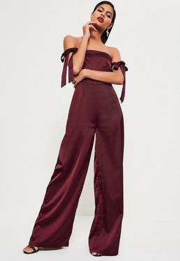 Burgundy Satin Bardot Tie Sleeve Jumpsuit
