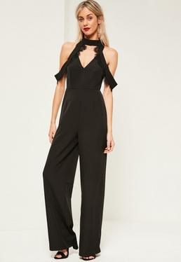 Black Lace Trim Detail Cold Shoulder Jumpsuit
