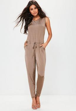 Brown Sleeveless Slinky Slouch Jumpsuit