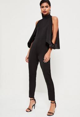 Black Open Shoulder High Neck Satin Jumpsuit