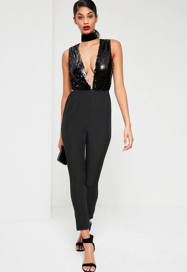 Black Sleeveless Sequin Wrap Jumpsuit