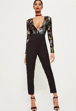 Premium Black Floral Sequin Jumpsuit