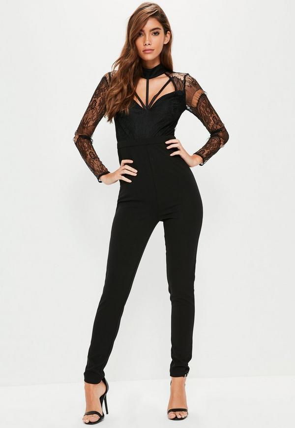 Black Harness Lace Long Sleeve Jumpsuit