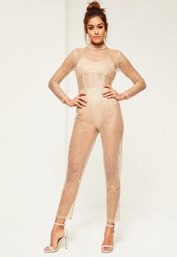 Gold Glitter Mesh Long Sleeve Jumpsuit