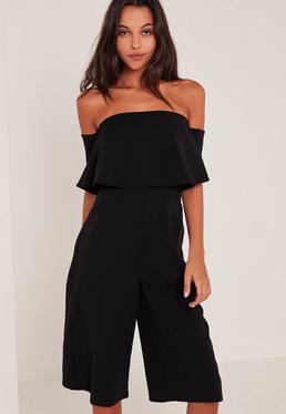 Black Crepe Bardot Culotte Jumpsuit