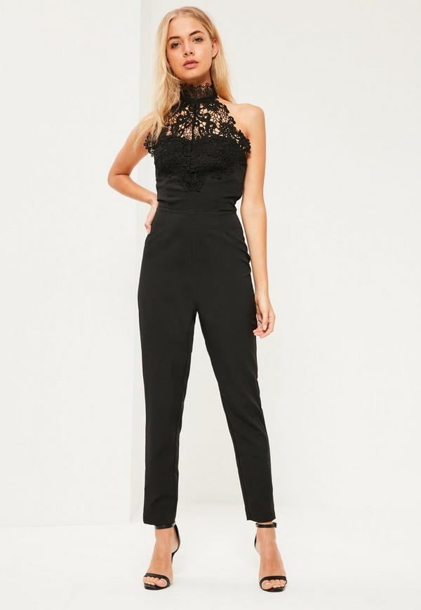Black Halterneck Lace Jumpsuit