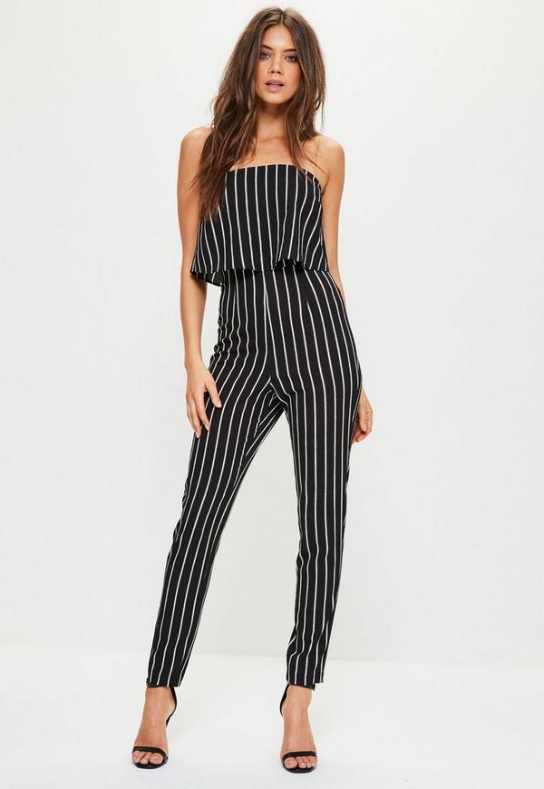Black Stripe Bandeau Double Layer Jumpsuit