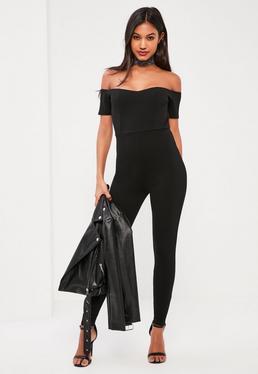 Black Short Sleeve Bardot Crepe Unitard Jumpsuit