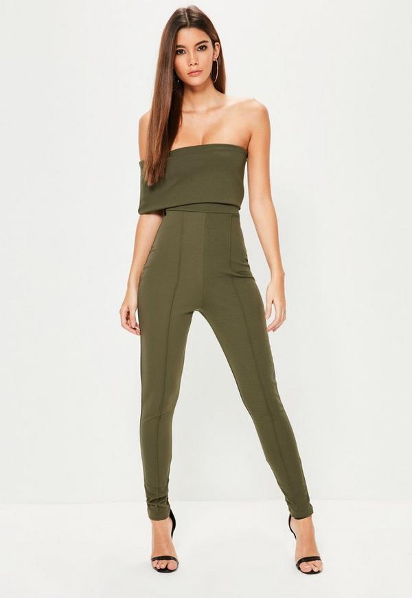 Khaki Asymmetric Bardot Unitard Jumpsuit