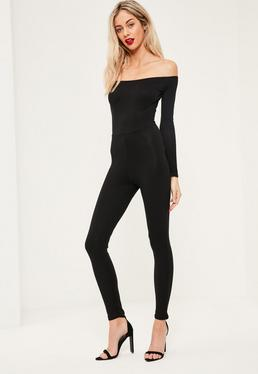 Black Long Sleeve Bardot Jersey Unitard Jumpsuit