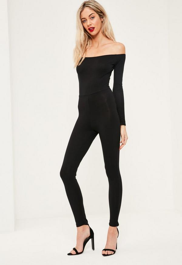 Black Long Sleeve Bardot Jersey Unitard Jumpsuit