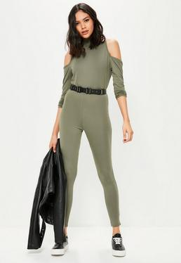 Khaki High Neck Cold Shoulder Jumpsuit