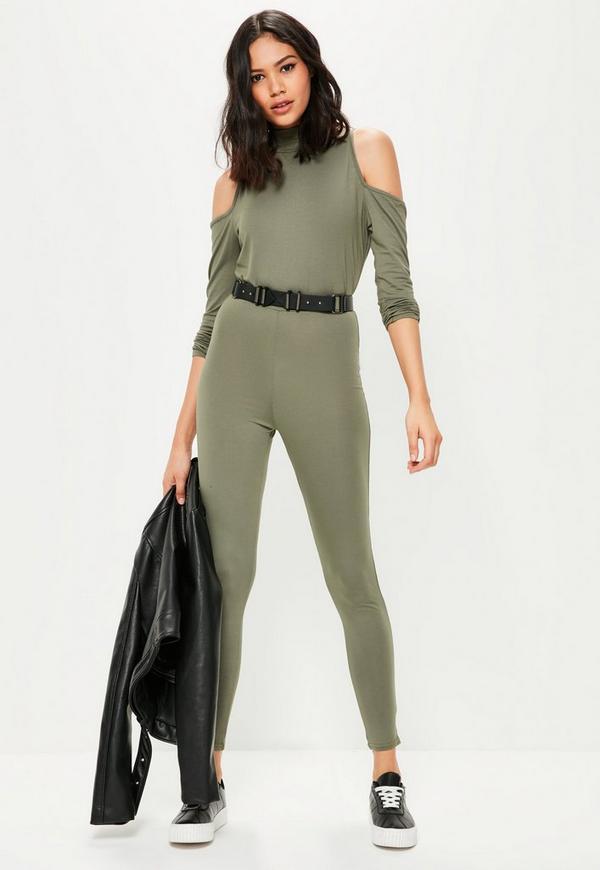Khaki High Neck Cold Shoulder Jumpsuit