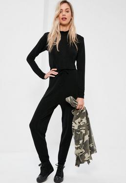 Black Long Sleeve Lurex Slouch Jumpsuit