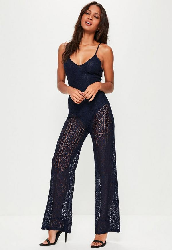 Navy Full Lace Strappy Jumpsuit