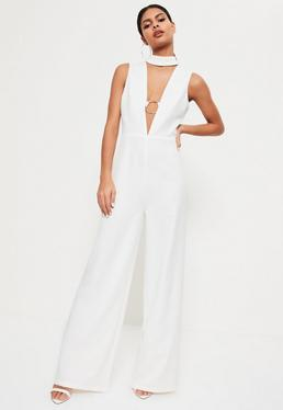 White Hoop Plunge Wide Leg Jumpsuit