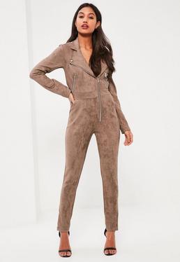 Brown Premium Faux Suede Zip Through Jumpsuit