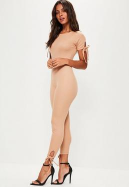 Nude Tie Sleeve Ribbed Unitard Jumpsuit