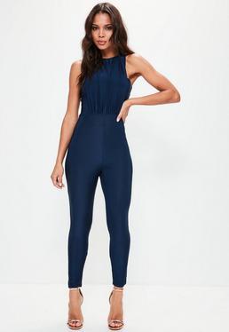 Navy Slinky Drape Front Jumpsuit