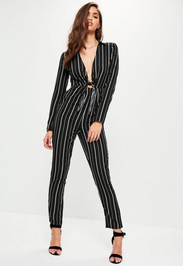 Black Striped Tie Front Shirt Jumpsuit